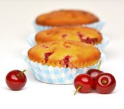 Muffins with sour cherries Royalty Free Stock Image