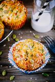 Muffins with spinach,  feta cheese pumpkin seeds and sesame seeds Royalty Free Stock Photo