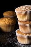 Muffins sprinkled with the powder sugar royalty free stock images