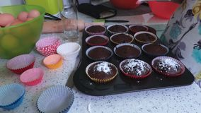 Muffins sprinkled with in powdered sugar. In room stock video footage