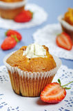 Muffins with strawberries Royalty Free Stock Photography