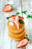 Muffins with strawberries Royalty Free Stock Photo