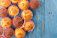 Muffins on a table, copy space Royalty Free Stock Photography
