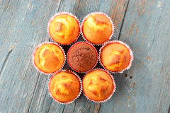 Muffins on a table, view from the top Royalty Free Stock Photography