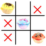 Muffins tic tac toe Royalty Free Stock Photos