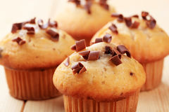 Muffins topped with chocolate shavings Stock Photo