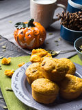 Muffins van de pompoen de gehele tarwe Royalty-vrije Stock Afbeelding