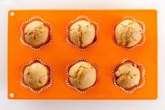 Muffins w wypiekowej niecce Obrazy Royalty Free