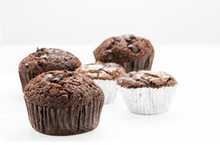 Muffins on white background. Some of chocolate muffins on white background with  clipping path Stock Photo