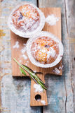 Muffins in white flour Royalty Free Stock Images