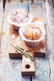 Muffins in white flour Stock Photography