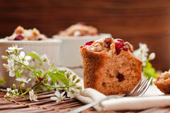 Muffins with wild cherries and nuts Royalty Free Stock Images