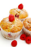Muffins With Red Raspberries Stock Photos