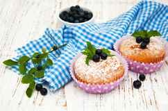 Muffins z czarną jagodą Obrazy Royalty Free