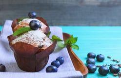 Muffins z jagody czarną jagodą Obraz Royalty Free