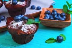 Muffins z jagody czarną jagodą Obrazy Stock