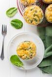 Muffins z szpinakiem, batatami i serem, Fotografia Stock