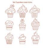 Muffinsymbol Efterrättkakatecken Läckert bagerimatsymbol L Royaltyfri Bild