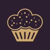 Muffinsymbolen Efterrätt och bakat, kaka, bagerisymbol plant Royaltyfri Fotografi