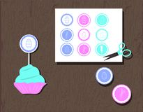 Muffintoppers eller klistermärkear med ägg, hjärtor och kaniner för färgakvamarin för llustration delikat turkos, rosa som är blå vektor illustrationer