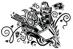 Muffler explosion tattoo. An eclectic tattoo-like graphic element featuring a car muffler as well as assorted floral, botanical, tribal, automotive, splatter vector illustration
