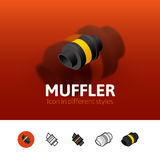 Muffler icon in different style. Muffler color icon, vector symbol in flat, outline and isometric style isolated on blur background Stock Photography