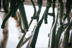 Mufflers hanging against window Royalty Free Stock Images