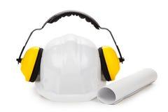 Muffs do capacete de segurança e da orelha Fotografia de Stock