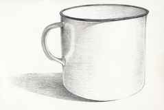 The mug. Hand drawing picture with white mug Stock Photography