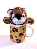 Mug. Isolated cheetah mug stock images