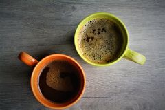 Mug of American Coffee on Wood. Mug of Hot American Coffee on Wooden Table stock photography