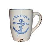 Mug with anchor. Mug with blue anchor isolated on white Royalty Free Stock Photo