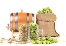 Mug and bag with hop Stock Photography