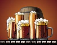 Illustrated poster mug and barrel. Mug and barrel illustrated poster Royalty Free Stock Photo