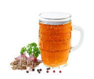 Mug of beer. And salami with parsley on a white background Stock Photo