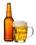 Mug of beer. Isolated on the white background Stock Images