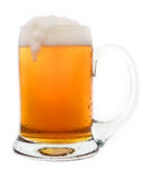 Mug of Beer. A frothy mug of beer, isolated on a white background stock photo