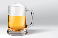 Mug of beer. Vector hand picture. A very detailed drawing. The vector original glass is transparent Stock Images