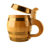 Mug for beer as wooden barrel Stock Photos