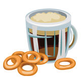 Mug of beer with bagel on white background Stock Image