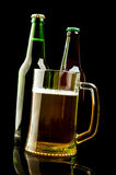 Mug with beer and bottle Royalty Free Stock Photography