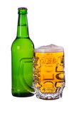 A mug of beer, a bottle of beer Royalty Free Stock Images