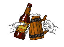 Mug of beer with foam and a brown bottle Stock Image