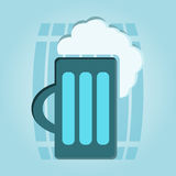 Mug of beer with foam head Royalty Free Stock Photography