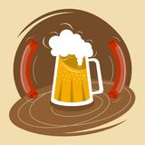 Mug of beer with foam and two sausages stock photo