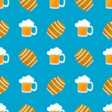Mug of beer with foam. Wooden barrel for wine. Traditional German pastries. National food to Oktoberfest. Seamless. Pattern royalty free illustration