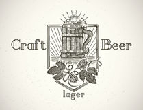 Mug of beer in a graphic style. Royalty Free Stock Images
