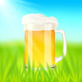 Mug with beer, on green field in sunny day. Vector illustration Stock Photography