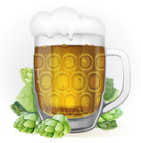 Mug of beer and hops Royalty Free Stock Images