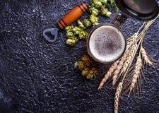 Mug of beer, hops and malt. Selective focus Stock Photos